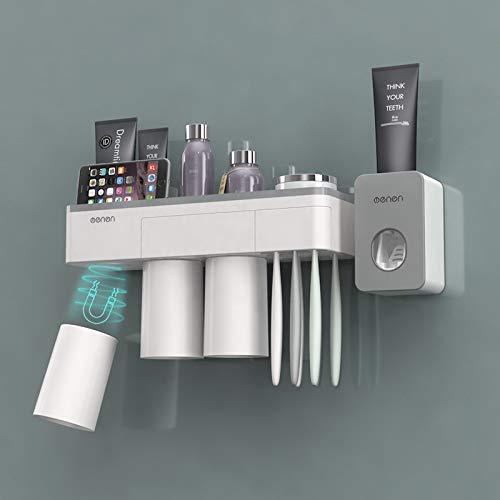 ChangMi Distributeur Automatique de Dentifrice Squeezer et Porte-Brosse à Dents, Organisateur Mural pour Brosse à Dents à Gain de Place avec Couvercle Anti-poussière, 3 Tasses magnétiques