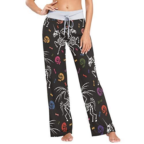 LENNEL Frauen Bequeme Kordelzug Pyjamahose lässig weites Bein Yogahosen M Halloween Einhorn