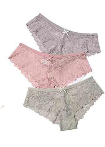 HAIBI Damen Unterhosen Panties 3Er Pack Höschen Damen Slips Sexy Transparente Spitze Atmungsaktive Weiche Dessous Weibliche Dehnbare Unterwäsche, Grau Beige Grün, L.