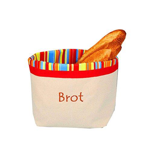 Brotbeutel zur Aufbewahrung und Brotkorb in einem, atmungsaktiv und dekorativ 31 cm x 35 cm. 30° Mit Streifen SONNIG