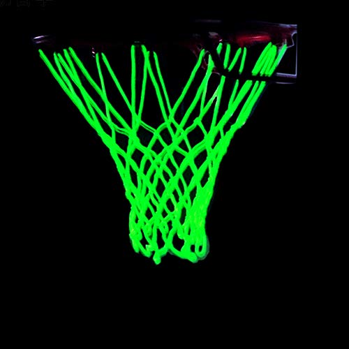 Glow in The Dark Basketball Net - Outdoor Net and Basketball Hoop Accessories, Standard Regulation Size for Outside Basketball Rims, Kids Backboard and Rim (Yellow)