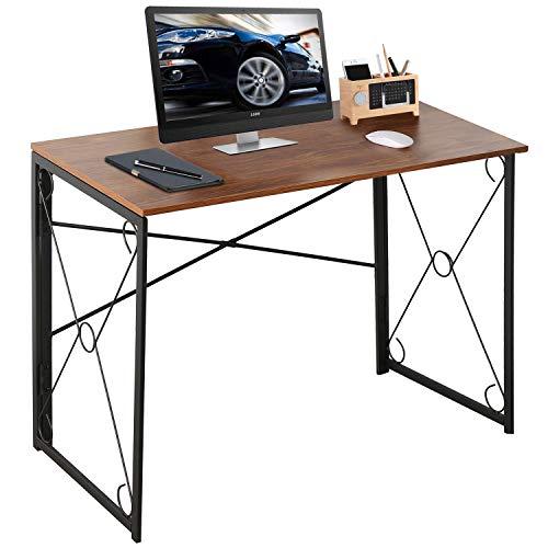 VECELO Schreibtisch Faltbar Computertisch Bürotisch 100x50x75(BxTxH) Arbeitstisch Klappbar PC Tisch für Homeoffice Arbeitzimmer Vintage Braun