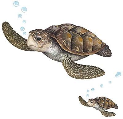 Sea Turtle Wall Decal ~Ocean Undersea Animal Tortoise Wall Sticker for Kids Room Decor, Boys Girls Toddler Baby Nursery Bedroom, Playroom, Bathroom, Vinyl Art Gift