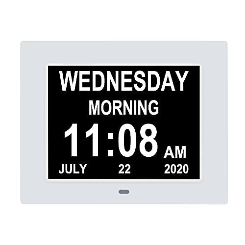TMC Demenz-Uhr, digital, Kalenderuhr, 8 Alarmoptionen, extra groß, nicht abgekürzt, Tag und Monat für Sehbehinderte, ältere Menschen, Gedächtnisverlust