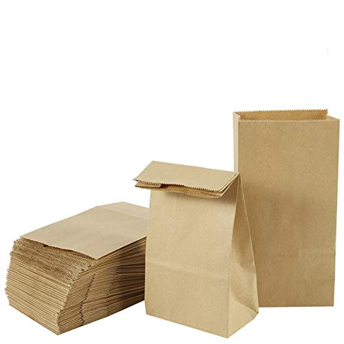 papiertüten klein,papiertüten braun 50 Stück 9 x 17 x 5.5 cm 70 gr./m² kraftpapier tüten Geeignet für Süßigkeiten, Brot Keksverpackung,geschenktüten papier, Ostertaschen