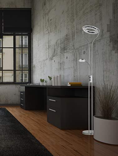 Preisvergleich Produktbild WOFI LED Cester Standleuchte,  Metall^Acryl,  Integriert,  26 W,  nickel matt / chrom,  35 x 35 x 175.6 cm
