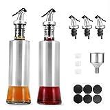 Glotoch Olive Oil Dispenser Bottle, 2 Pack Premium Glass Stainless Steel Oil Vinegar Dispenser Pouring Spouts Soy Sauce Container for Kitchen,11oz (Silver)