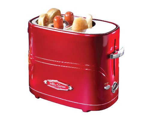 Nostalgia Retro Adjustable Cooking Timer Pop-Up Hot Dog Toaster with Mini Tongs