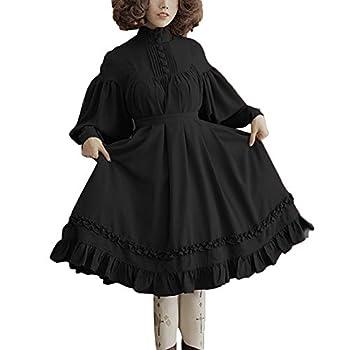 GLOA Lolita Dress for Girls Women Solid Color O Neck Long Puff Sleeve Button Large Swing Midi Lolita Dress Black XXXXXL