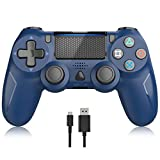 Wireless Controller for Playstation 4, PS4 Remote Gamepad Joystick for PS4 Pro,PS4 Slim with Dual Vibration 6-axis Gyro Sensor Audio Function Blue