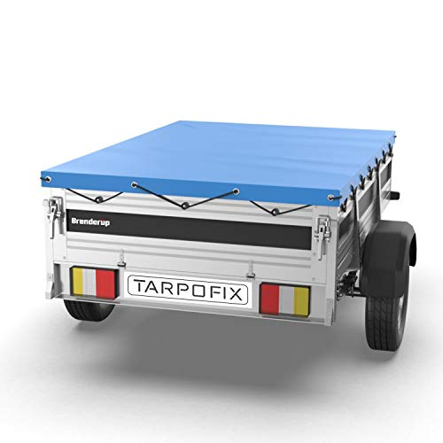 Tarpofix® Anhängerplane Flachplane 264 x 135 x 7,5 cm - randverstärkte Anhänger Plane (blau) - langlebige Anhänger Abdeckplane für Brenderup 2260 Serie PKW Anhänger 750-1300 kg I FP3-14