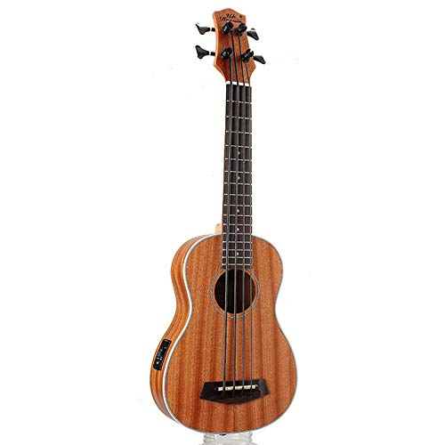 LOIKHGV 30 Zoll Mini Electrica Gitarre Musikinstrumente Full Sapele Retro Closed Knob Ukulele 4 Saiten Bassgitarre, wie abgebildet, 30 Zoll