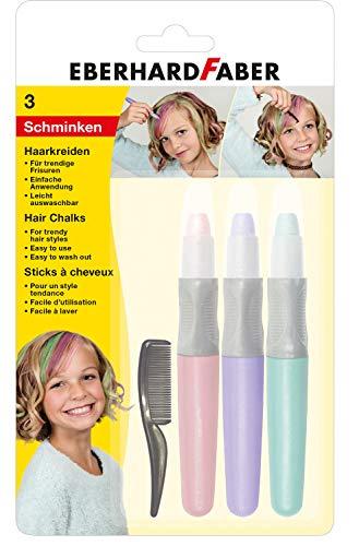 Eberhard Faber 579202 Trendige Frisuren, 3 Haarkreiden in Pastell Farben inklusive Kamm, einfache Anwendung, Leicht abwaschbar, ideal um Neue Haarfarben auszuprobieren
