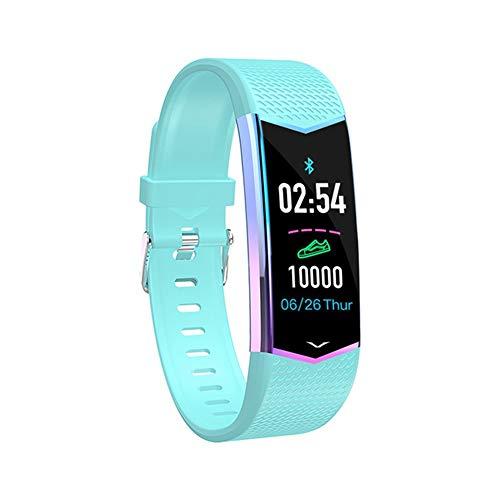 ZMING Smart-Sport-Armband-Uhr, Herzfrequenz-Blutdruck-Wasserdichtes Pedometer, Oppo/Huawei/Vivo/Millet/Meizu/Universal (Farbe: Schwarz, Blau, Pink) (Color : Blue)
