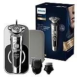 Philips Serie 9000 Prestige Wet & Dry - Máquina de afeitar eléctrica con carga Qi, Smartclick para barba y cepillo de limpieza facial – Sp9863/14