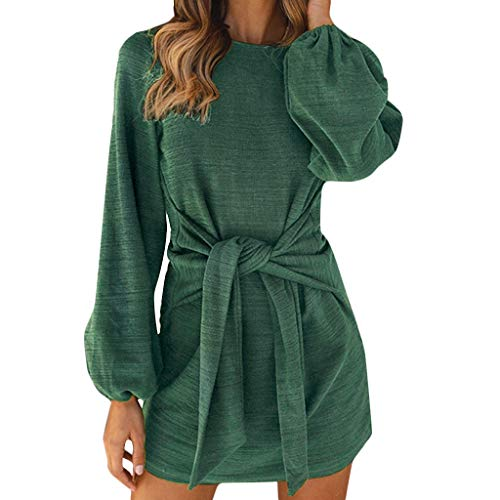 Damen Kleider Blumen Cocktailkleid Abendkleid,Neuer Rock Mode O-Ausschnitt Langarm Bandage Minikleid Sexy Kleid Mini Langarm Kleid S-XXL