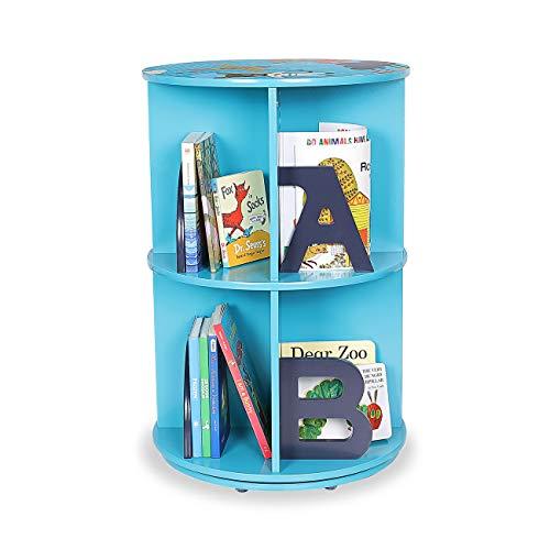 Baby Vivo Étagère Bibliothèque 'Space' Etagère de Rangement Table Créative Rotatif 360 degrés pour Enfants - Bleu