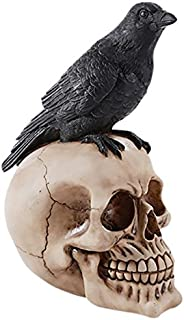 Perched Raven On Skull Poe Raven Figurine Halloween Home Decor Gift