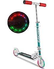 Hikole Patinetes para niños con Ruedas de luz LED, Patinetes de Altura Ajustable para Niños y Niñas, Freno de Guardabarros Trasero, Patinetes Ligero Plegable de 5 LB, Capacidad de Peso de 110 LB