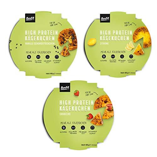 BenFit High Protein low carb Käsekuchen Mix Paket für Diät/Muskelaufbau/Bodybuilding/Fitness - 3 Kuchen in verschiedenen Sorten (450 g pro Eiweisskuchen)