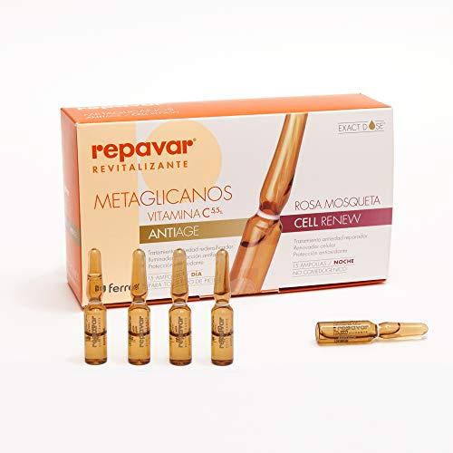 REPAVAR METAGLICANOS Anti Edad más Cellrenew, tratamiento facial día y noche. 15 ampollas antiedad con vitamina C y 15 de de renovación celular con Rosa Mosqueta.