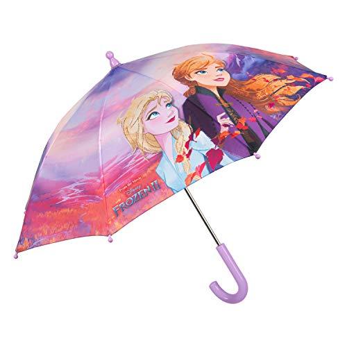 Regenschirm Kinder Frozen 2 Anna ELSA die Eiskönigin 2 - Disney Kinderschirm mit Sicherheitsöffnung für Mädchen 3 bis 5 Jahren - Kleinkind Stockschirm Windfest Stabil - Durchmesser 76 cm - Perletti