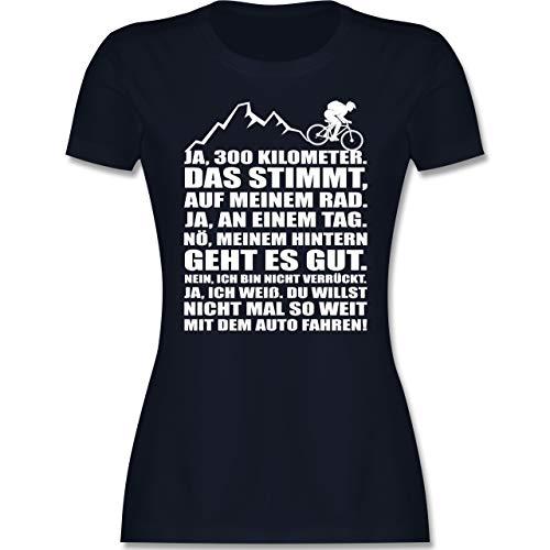 Radsport - 300 Kilometer mit dem Rad - XXL - Navy Blau - Geschenk - L191 - Tailliertes Tshirt für Damen und Frauen T-Shirt
