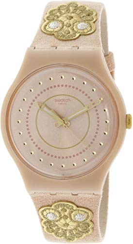 Swatch Women's Embroidery SUOP108 Pink Leather Swiss Quartz Fashion Watch
