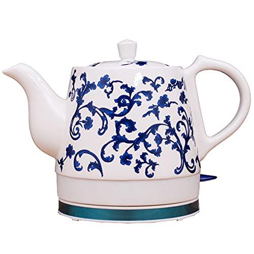 Bollitore Elettrico in Ceramica, Teiera Elettrica in Ceramica - Brocca Retrò da 1.2 L, 1350 W Fa Bollire Rapidamente L'Acqua per Tè, Caffè, Zuppa, Farina D'Avena Antiscivolo
