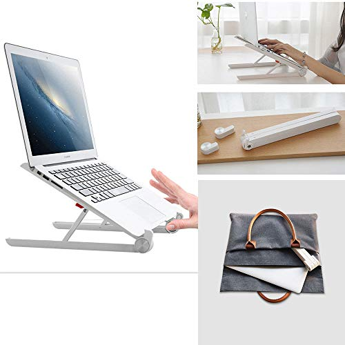 Virtuem Laptop Stand Holder, Foldable Portable Ventilated Adjustable Laptop Riser with Carry Bag, Lightweight Desktop Ergonomic Space-Save Notebook Tray Mount for Tablet/Laptop 11-17' White Aluminum
