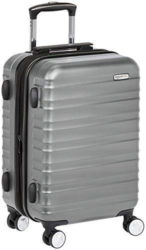 Amazon Basics - Maleta de mano rígida de alta calidad, con ruedas y cerradura TSA incorporada, 55 cm, Gris