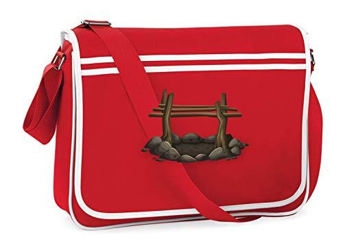 Druckerlebnis24 Schultertasche - Feuerstelle Grube Lagerfeuer Hof - Umhängetasche, geeignet für Schule Uni Laptop Arbeit