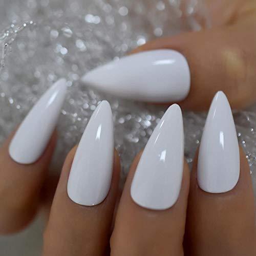 HUIL Faux ongles Style de noël paillettes faux ongles cercueil forme mélange chatoyant noël élémant ongles moyen taille ongles Kit 24