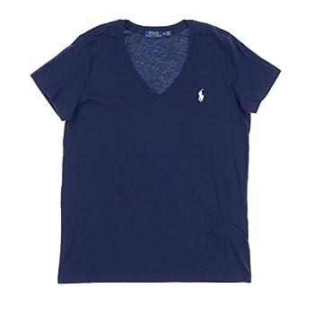Polo Ralph Lauren Womens V-Neck Jersey T-Shirt  Medium Navy