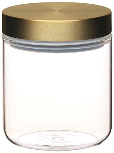 Kitchen Craft Vorratsbehälter Master Class 700ml mit Messingdeckel aus Glas in transparent, 25 x 25 cm