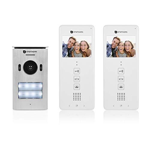 """Sistema de videoportero Smartwares DIC-22122, 480p, Monitor LCD de 3,5"""" (8,9 cm), Cámara orientable 15°, Fácil instalación, Resistente al agua, 12 melodías, Visión nocturna, Kit para dos viviendas"""