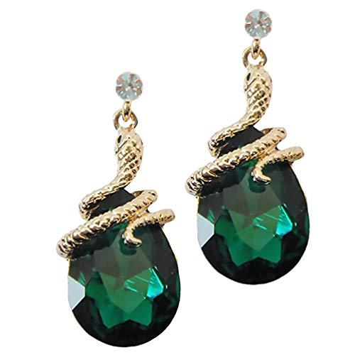 Holibanna Pendientes Colgantes de Serpiente Esmeralda Pendientes de Cristal Tipo Serpiente Pendientes Retro de Cristal Dorado Verde para Mujeres (Pendientes de Serpiente)