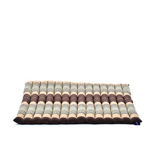 Leewadee Zabuton Rollbare Meditations-Matte Tragbare Sitzmatte Ökologisches Naturprodukt, 69x78x4.5 cm, Kapok, braun