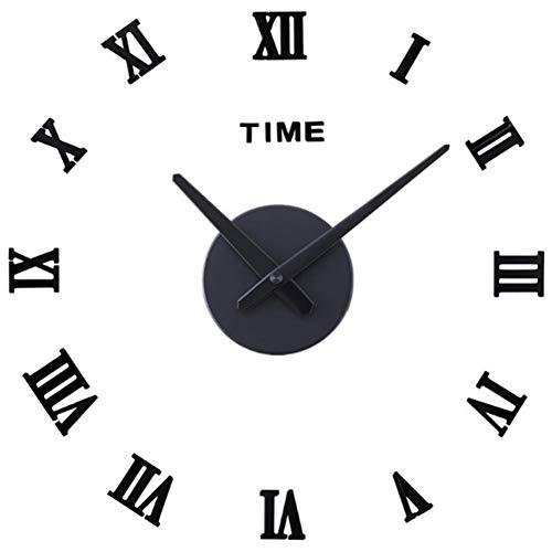 QETUOA Reloj De Pared Creativo De Bricolaje, Moderno Reloj De Sala 3D con Fuente Romana Silenciosa, Pegatinas De Pared Minimalistas Modernas (10)