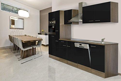 respekta Einbau Küche Küchenblock 310 cm Eiche York Nachbildung Schwarz Backofen Ceran Geschirrspüler Apothekerschrank