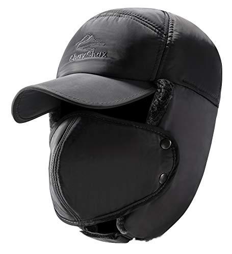 Yooeen Unisex Sombrero de Bombardero Trooper Trapper Sombrero de Esquí Con orejera y máscara a prueba de viento Hombres Mujeres, Grau 1, Tamaño ajustable (56-62cm)