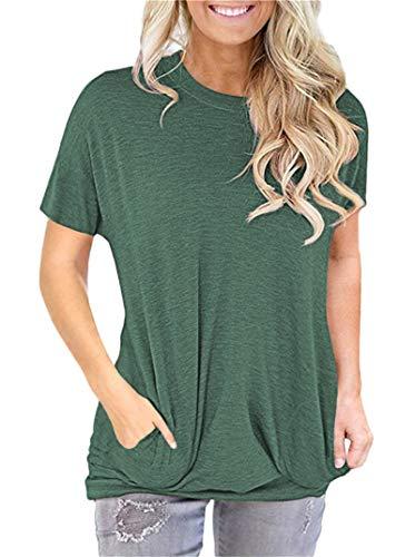Tops Casuales para Mujer Camisa de Manga Corta con Bolsillo Camiseta para mamá Camiseta Túnicas Leggings Blusa Holgada