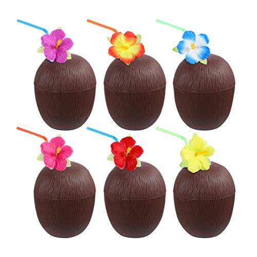 Toyvian 6 Pezzi Tazze di Cocco con Cannucce Portatili Hawaii Bicchieri da Festa per Feste Luau Beach Pool Party