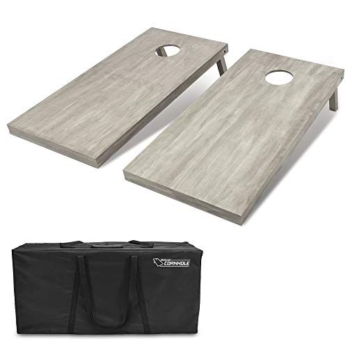 GoSports 4'x2' Regulation Size Wooden Cornhole Boards Set , Includes Carrying Case (CH-02-WS-GRAY)