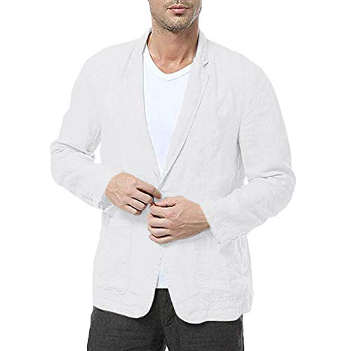 Z-MENG Herren-Jacken Männer Slim Fit Baumwollmischung Solide Langarm Dünne Anzüge Blazer Jacke Outwear übergangsjacke Herren Herren-Mäntel Softshelljacken für Herren (XXXL, Weiß)