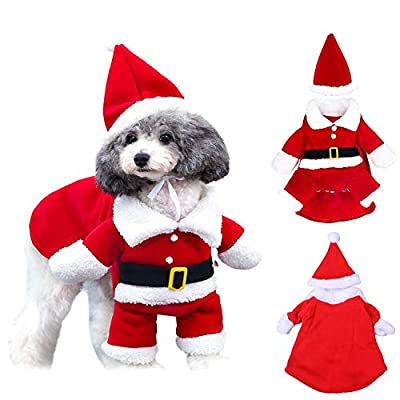 WELLXUNK® Santa Dog Costume, Dog Christmas Outfit Adjustable, Christmas Cotton Pet Clothes, Winter Hoodie Coat Clothes, Dog Pet Clothing, Santa Clothes for Pet Chihuahua Yorkshire Poodle (S)