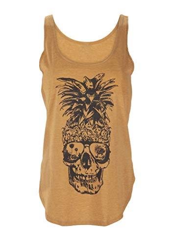 Gelbes Damen Top Ärmelloses T-Shirt mit Ananas Totenkopf Design – Gr. S