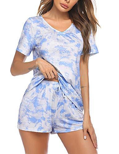 Avidlove Womens Tie Dye Pajamas for Women Short Sleeve Cotton Sleepwear Pjs S~XXL White and Blue