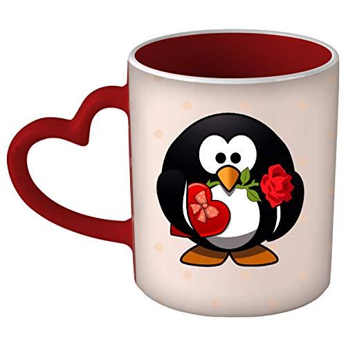 My Custom Style Tazza Cuore Manico Rosso#SanValentino-PinguinoInnamorato#325ml