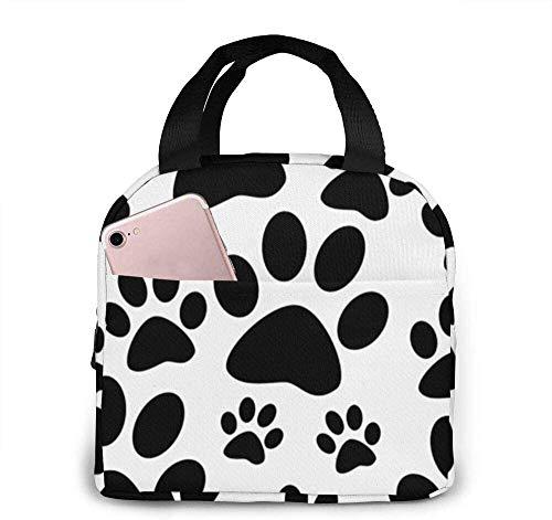 Bolsa de almuerzo Bolsa de asas West Highland Terrier Westie Fiambrera reutilizable Impermeable para hombres / mujeres Viaje de trabajo-Impresión de pata de perro